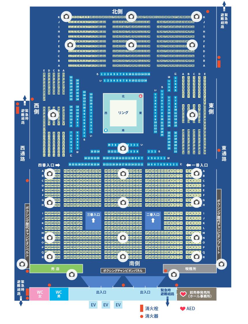 後楽園ホールの座席表です。中央にリングがあり、観客席は東西南北に4分されています。笑点では南側の固定席だけを使います。